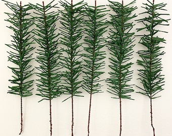 Austria 6 Large Paper Pine Sprigs Feather Tree Crafting Millinery Leaves