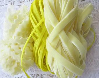 20-7/8 Yards Velvet Ribbons Yellows 3 Styles Velvets Trim Remnant Sampler Three Colors Of Yellow BD2121