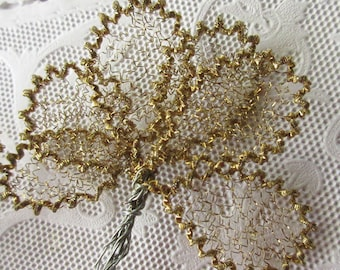 Austria 12 Millinery Small Crinkle Wire Gold Golden Leaves