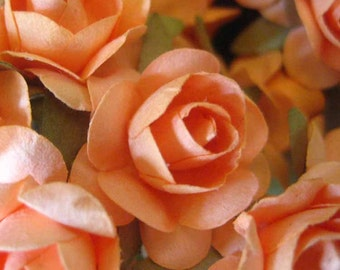 Paper Millinery Flowers 48 Small Handmade Roses In Peach
