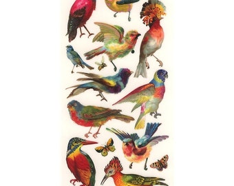 3 Sheets Self Adhesive Tropical Birds Stickers Colorful Scrapbooking Stickers  #59