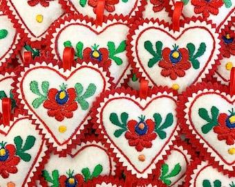 Hungary Embroidered Heart Ornament Kalosca Matyo Hungarian Embroidery Felt Traditional Folk Art