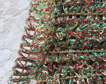 "3 Yards Vintage Metallic Trim Ribbon 7/16"" Wide Red Gold Green Looped Tinsel Wired Old Store Stock"