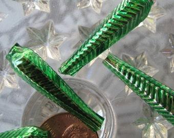 Mercury Glass Beads 6 Fancy Green Christmas Garland Beads Czech Republic  GB003GR