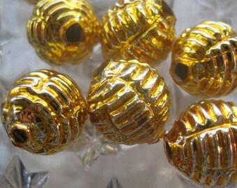 7 Glass Garland Beads Gold Christmas Garland Beads Czech Republic 075G