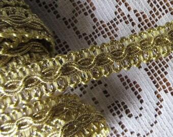 Italy 2 Yards Vintage Gold Metallic Fabric Sewing Trim  FL-30