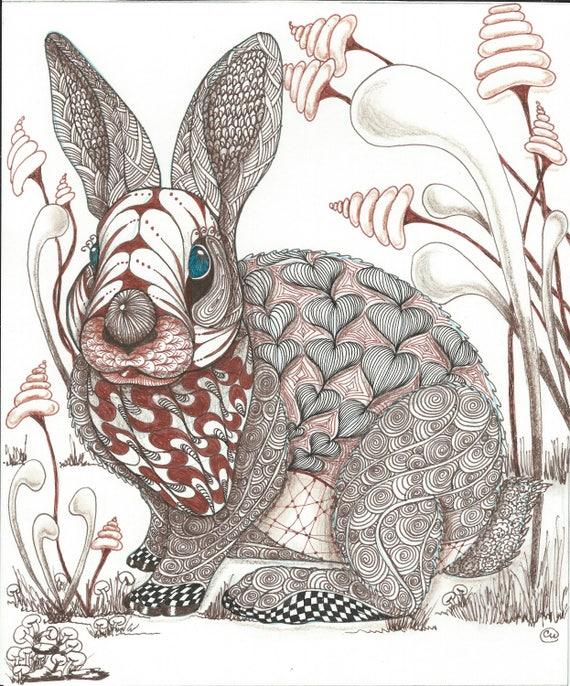 Fantasy Rabbit In Zentangle Art Print Abstract Fantasy Etsy