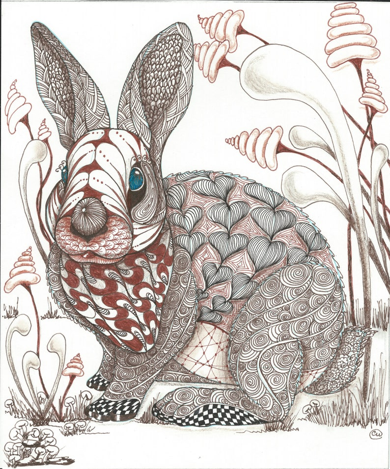 Fantasy Rabbit In Zentangle Art Print Abstract Fantasy Etsy