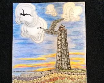 Lighthouse - Zentangle art