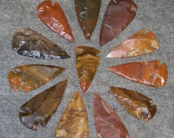 "10 Quality Hand Knapped  1 78"" - 2 1/2""  Agate Arrowheads - The Most Popular Size for Jewelry and Crafts"