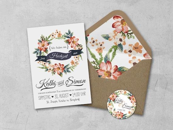 Einladungskarten Set | Karten, Umschläge und Aufkleber