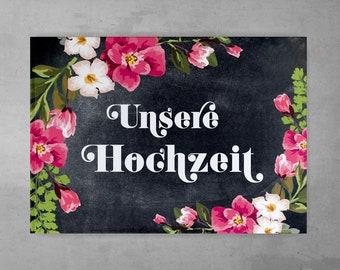 Guestbook Wedding Vintage Style Chalkboard Look Black Pink Flora Watercolor