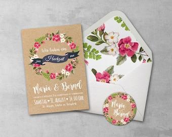 50 Sets invitation cards Wedding Watercolor A5