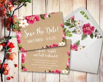 Einladungskarten Hochzeit Set Aquarell A6