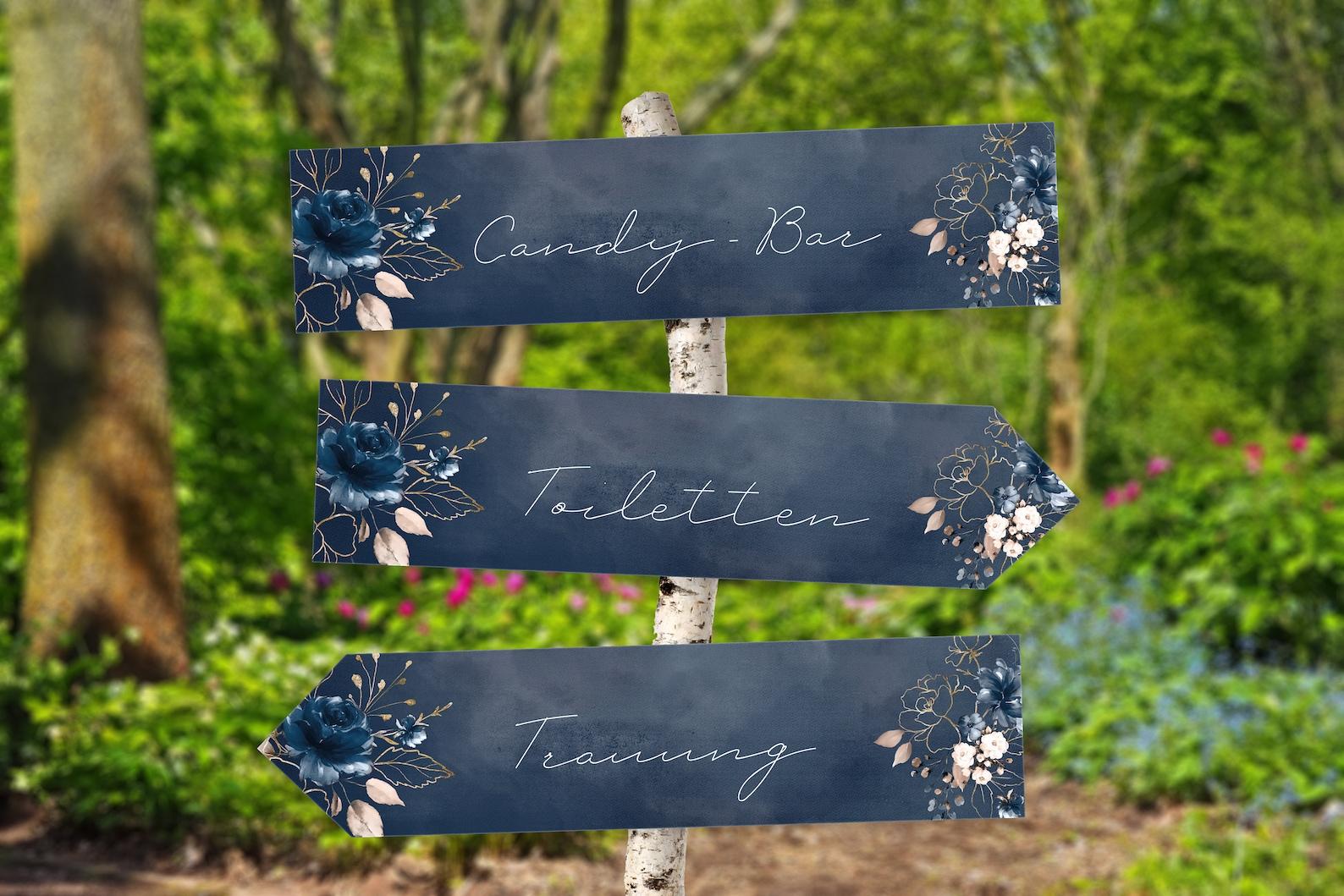 Schilder Hochzeit dunkelblau