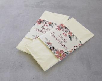 50 pieces Tears of Joy Handkerchief Banderoles Pink Grey