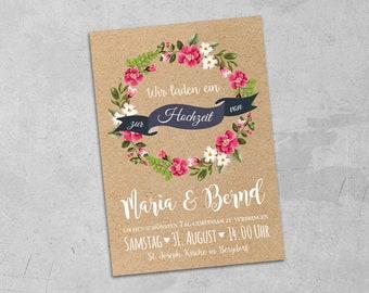 50 Piece invitation cards wedding watercolor A5