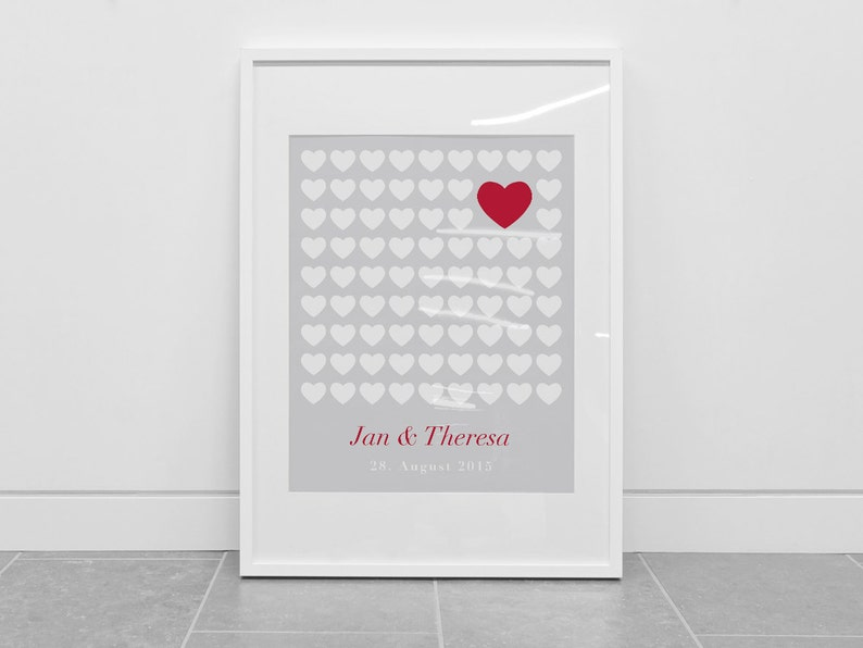 Guest poster wedding hearts din A2 grey white red Guestbook