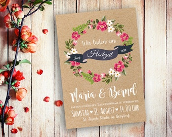 Einladungskarten Hochzeit Aquarell A5