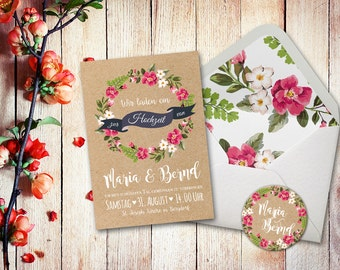 Einladungskarten Hochzeit Set Aquarell A5