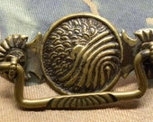One (1) Very Ornate Antique Japanese Brass Repousse DRAWER Cabinet PULL Hardware Japanese Asian Meiji Water Sun Clouds Motif