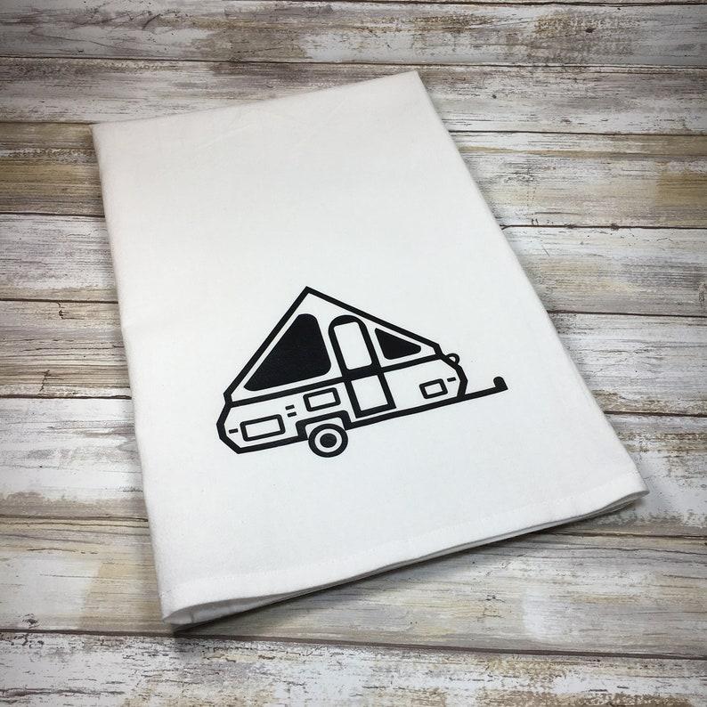 Glamp Camp A-frame Pop Up Camper Flour Sack Dish Towel and Magnet Travel Trailer Kitchen Glamping Kitchen Glamping Gift Camper Decor