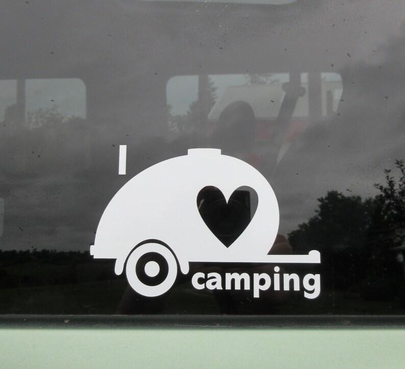 I love camping teardrop car window decal  Travel trailer  Teardrop trailer   Camping gear  Campground  Teardrop camper  Bumper sticker