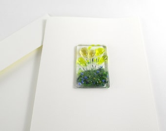 Fused Glass Keepsake Note Card Yellow Flowers
