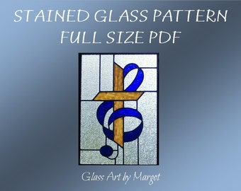 Stained Glass Music Clef Cross Pattern