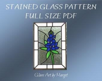Stained Glass Pattern PDF File, Original Bluebonnet Pattern
