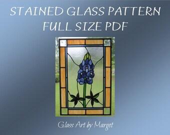 Stained Glass Texas Bluebonnet Pattern Original Design