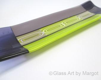 Fused Glass Plate, Channel Tray, Platter, Flow Bar Pattern, Purple Green - Glass Art by Margot