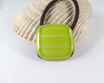 Fused Glass Pony Tail Holder Hair Accesory Lemongrass Yellow FREE SHIPPING