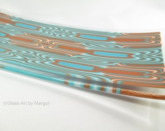 Fused Glass Art Plate Turquoise and Brown