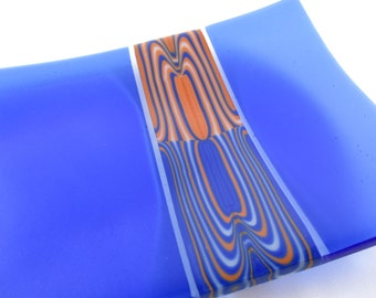 Fused Glass Plate, Glass Art Tray, Featuring Unique Clay and Blue Flow Pattern Bar, Unique, Gift