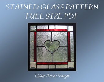 Stained Glass Pattern Beveled Heart Window