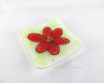 Fused Glass Red Flower Trinket Ring Dish, 3 Inch Square Plate