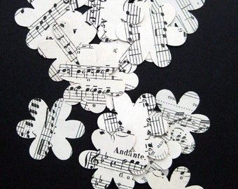 40 paper flowers hand punched book pages Vintage Music medium size