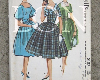 1959 McCalls sewing pattern 5107  Misses and junior dress size 13 bust 33 vintage pattern