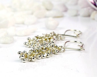 Sterling Silver Dangle Earrings, Short Drop Earrings, Long Drop Earrings, Silver Bubble Earrings, Long Silver Earrings, Shimmer Collection