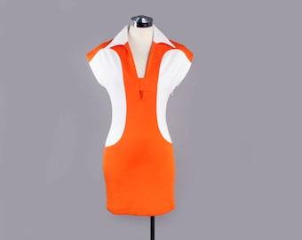 1980's Designer Henri Bendel Vintage Dress - Orange & White Jetsons Style Shift dress, MOD - small/med - Size 2/3