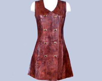 1960's Vintage Leather Shift Dress Double Breasted - MOD era dress, Festival Vintage dress, MEDIUM
