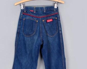 """1970's Vintage Chemin De Fer Blue Jeans Denim Pants - Red Piping trim, 26"""" Waist"""