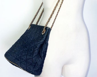 09da4436bf3c Vintage CHANEL Style Purse Bag Blue Denim Gold Leather Crossbody Bucket Bag  Metal Chain Strap Designer 1980's