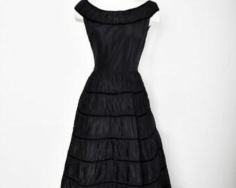 5c3ac48aea0 1950 s Black Vintage Evening Dress  Gown