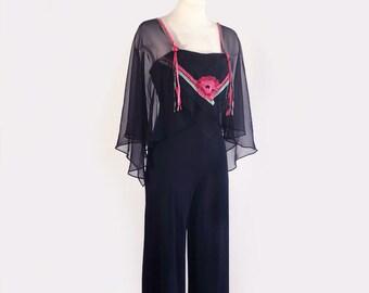 ee769bd4808 1970 s Vintage Black Scarf Style Pantsuit