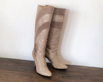70's All Leather Designer NINA Vintage Boots - High Heels, Stiletto Heel Shoes, Spain, Tan Beige Suede, Disco, 80's, Size 6.5