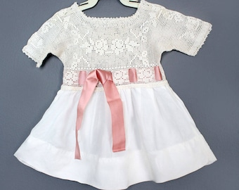 Vintage Antique White Crochet & Pink Silk Dress, 1920's , 30's - SIZE: Infant, One Year