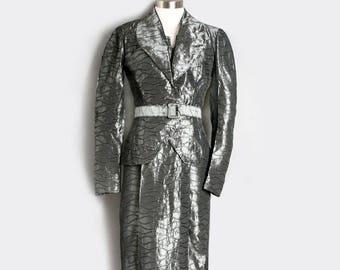 1950's Vintage Silver Gray Sharkskin Dress Jacket & Belt, Matching Suit,  Mid Century Film Noir Style - Small/XS