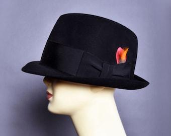Vintage Mens Black Fedora Hat e167b684dbae
